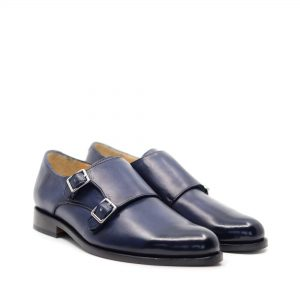 pantofi doua catarame piele culoare albastra