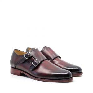 pantofi doua catarame piele culoare bordo