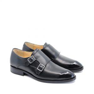 pantofi negri double-monk din piele naturala